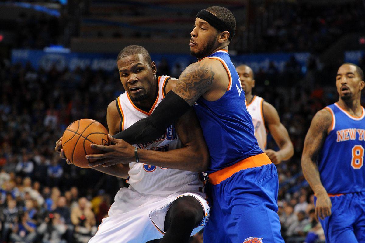 3404d6e26 Head to Head  Kevin Durant dominates Carmelo Anthony in Thunder win ...