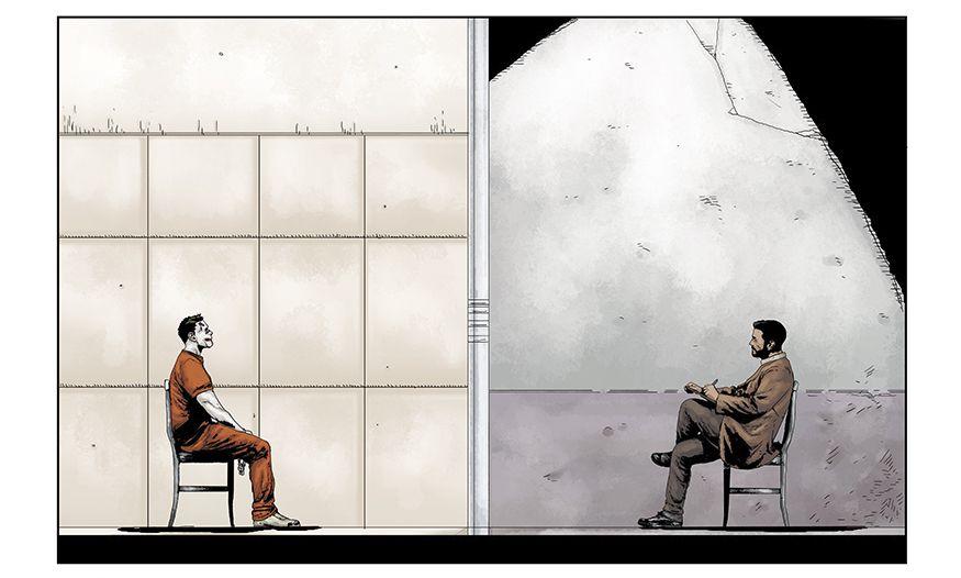 The Joker and Dr. Ben Arnell sit on opposite sides of a glass cell wall in Joker: Killer Smile, DC Comics (2019).
