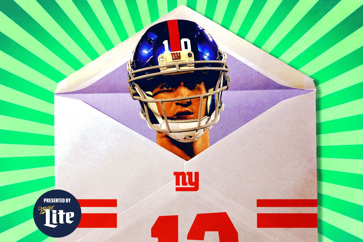 Eli Manning in front of an open envelope