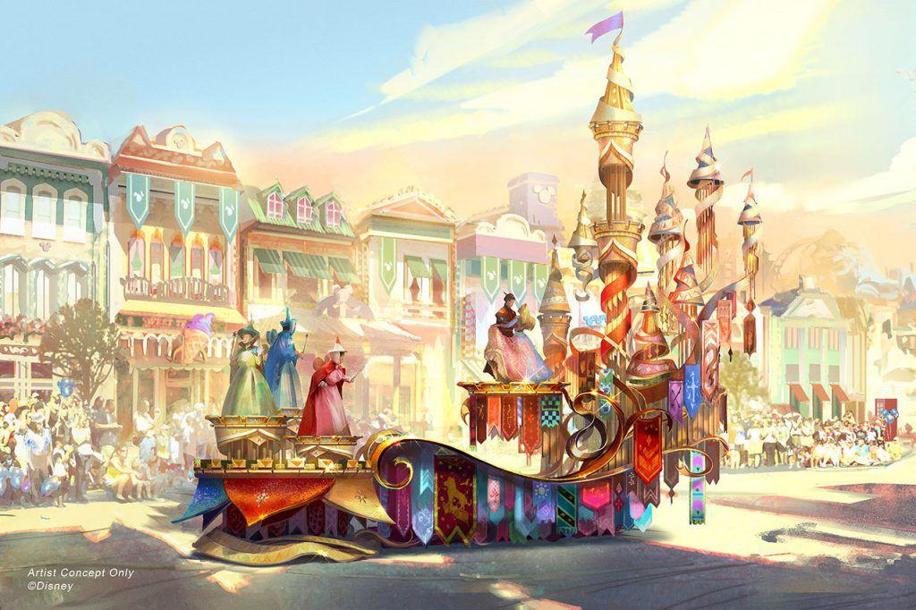 Magic Happens parade at Disneyland concept art of Sleeping Beauty float