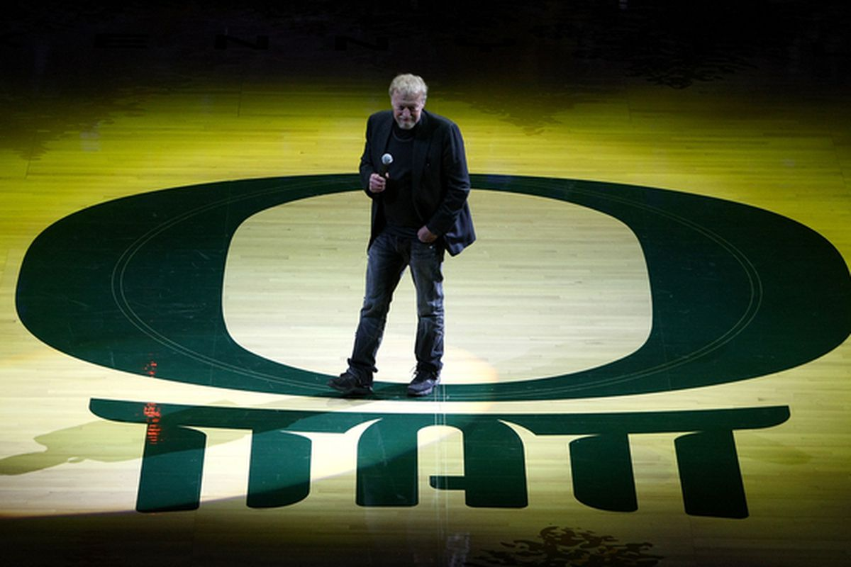 See that midcourt stripe that Phil Knight is displaying? No? Look closer. It's right there, next to his right foot.