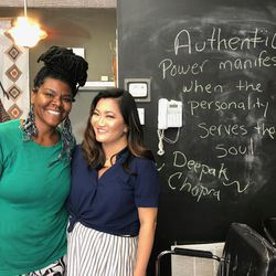 """Catrice Moore, owner of the salon """"Hair For You"""", with Ji Suk Yi. 