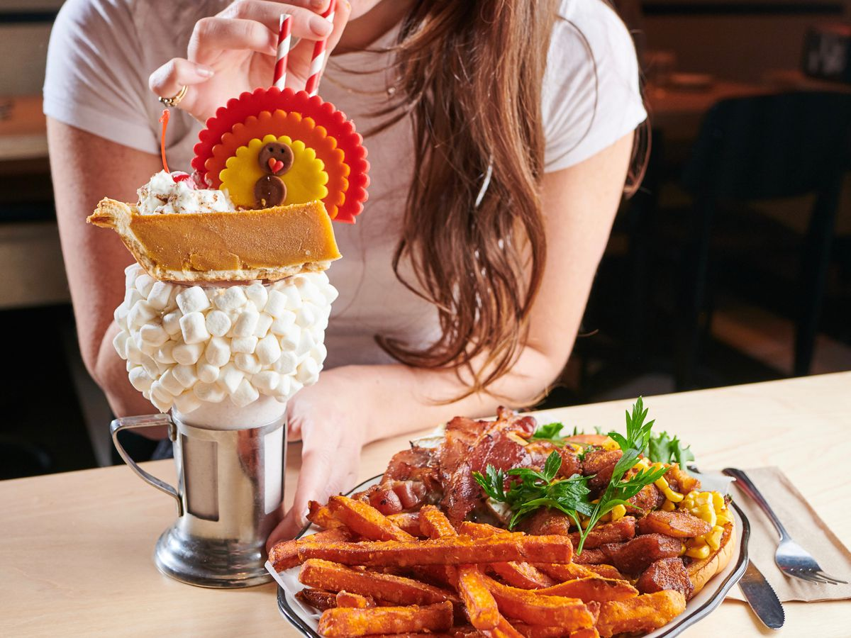 Thanksgiving burger and pumpkin pie shake