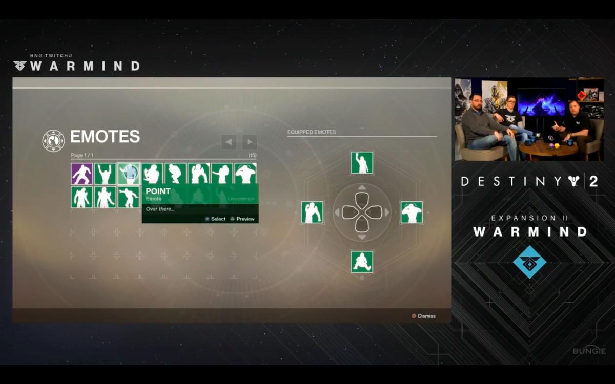 Destiny 2: Warmind reveal livestream - showing off emote wheel