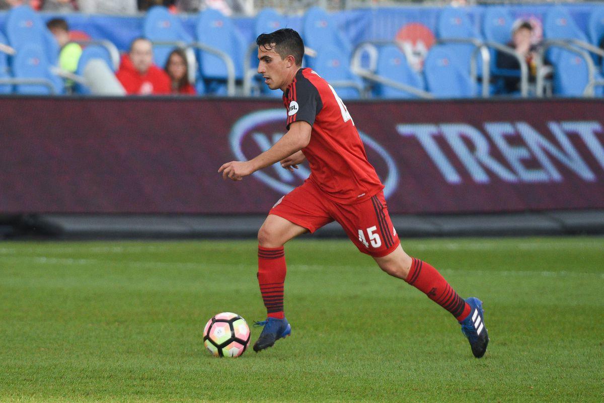 USL Photo - TFC II's Luca Uccello on the ball against Bethlehem Steel FC
