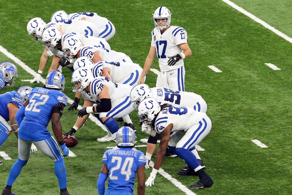 Indianapolis Colts quarterback Philip Rivers (17) signals at the line of scrimmage during the first half of an NFL football game against the Detroit Lions in Detroit, Michigan USA, on Sunday, November 1, 2020.