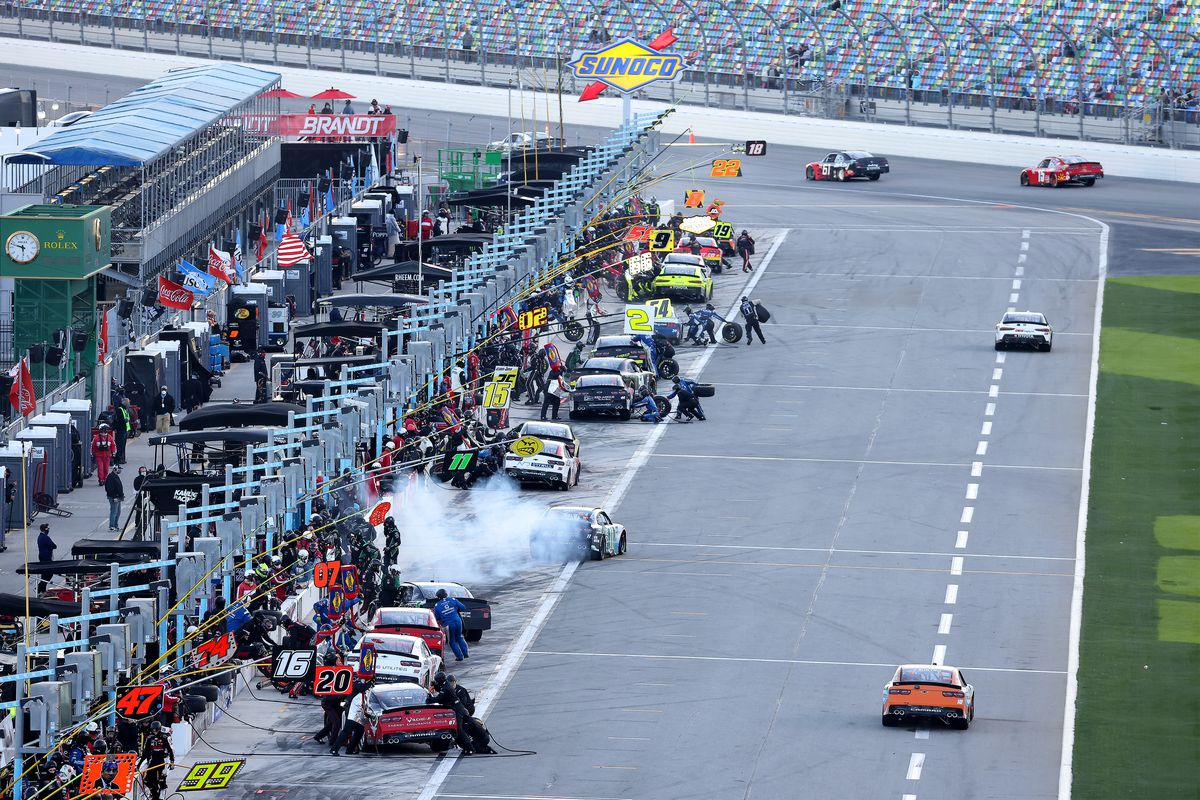 A general view of pit road during the NASCAR Xfinity Super Start Batteries 188 At Daytona Presented by O'Reilly at Daytona International Speedway on February 20, 2021 in Daytona Beach, Florida.