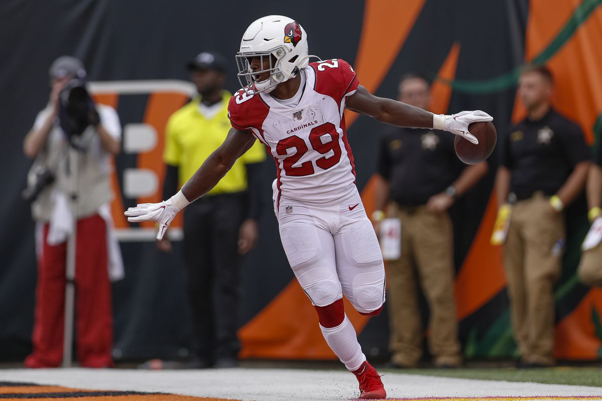 Chase Edmonds of the Arizona Cardinals reacts after scoring a touchdown against the Cincinnati Bengals at Paul Brown Stadium on October 6, 2019 in Cincinnati, Ohio.