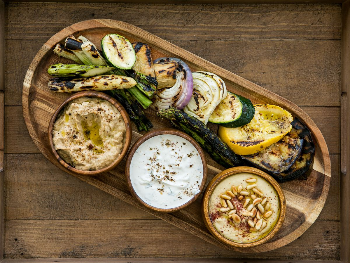 spread of vegetables and dips