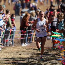 Raygan Peterson of Timpanogos takes third place in the 5A girls state cross-country championship race at Soldier Hollow in Midway on Thursday, Oct. 22, 2020.