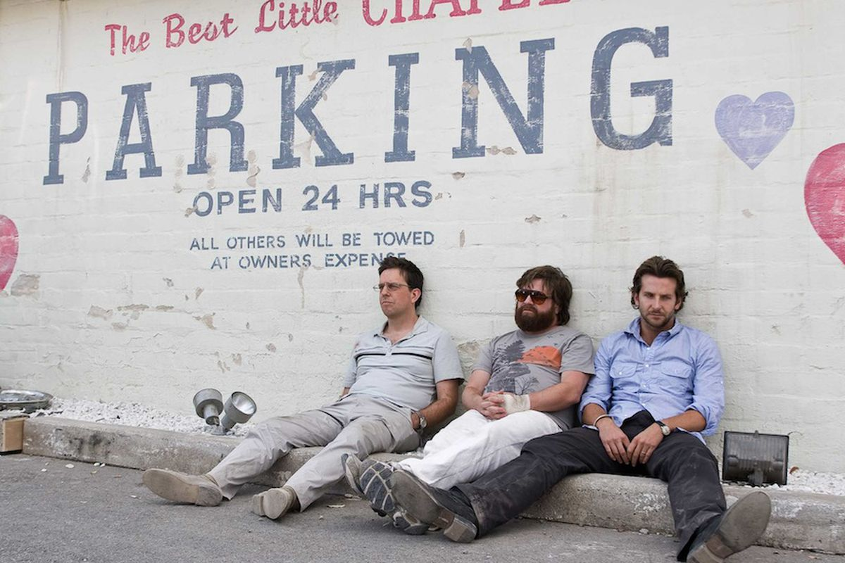 Ed Helms as Stu, Zach Galifianakis as Alan and Bradley Cooper as Phil in The Hangover.