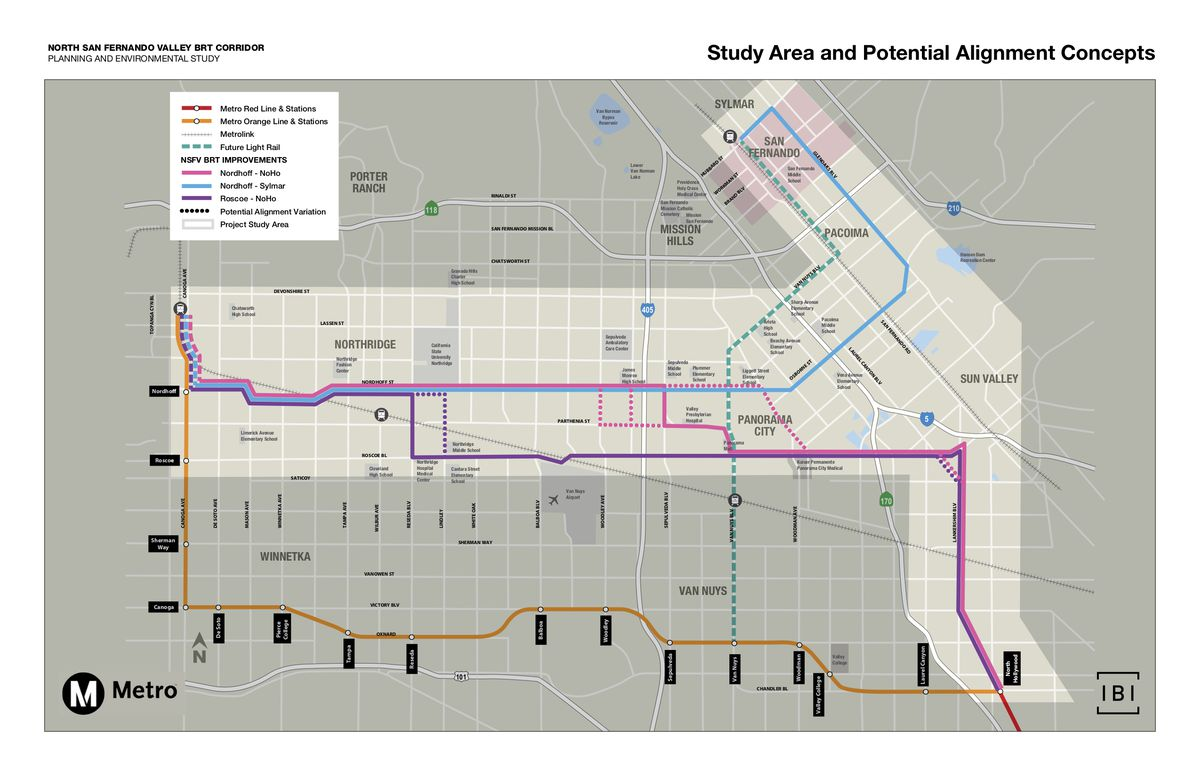 North Valley rapid bus map
