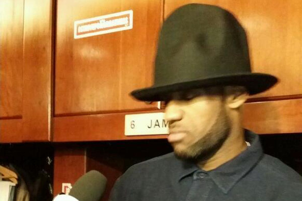 31c0c6ee178 Huge Pharrell hat spotted on top of LeBron James after Heat loss to  Timberwolves