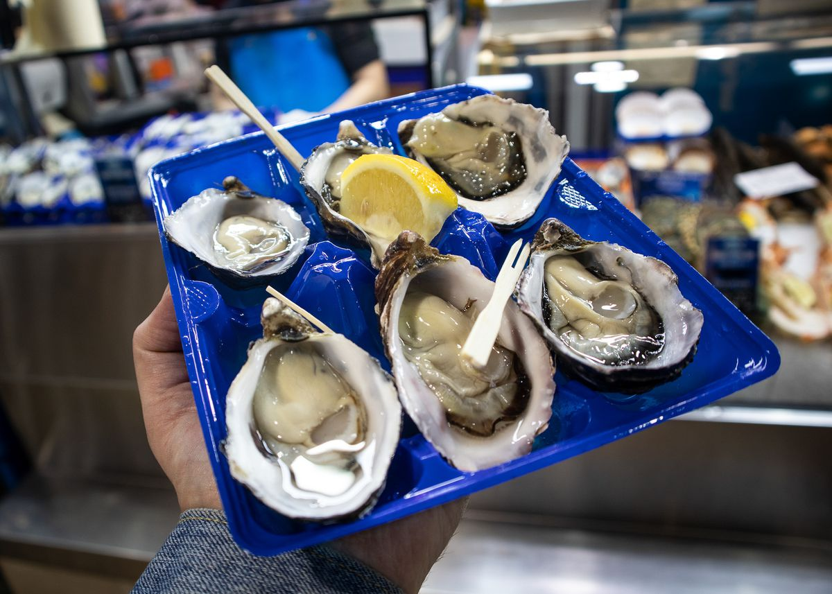 Fresh oysters are among the only eat-on-site options in the Meat and Fish Hall