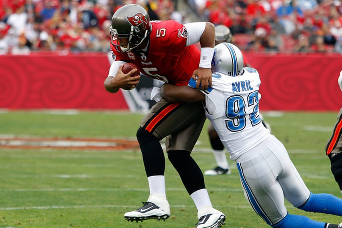 TAMPA FL - DECEMBER 19:  Defensive end Cliff Avril #92 of the Detroit Lions sacks quarterback Josh Freeman #5 of the Tampa Bay Buccaneers during the game at Raymond James Stadium on December 19 2010 in Tampa Florida.  (Photo by J. Meric/Getty Images)