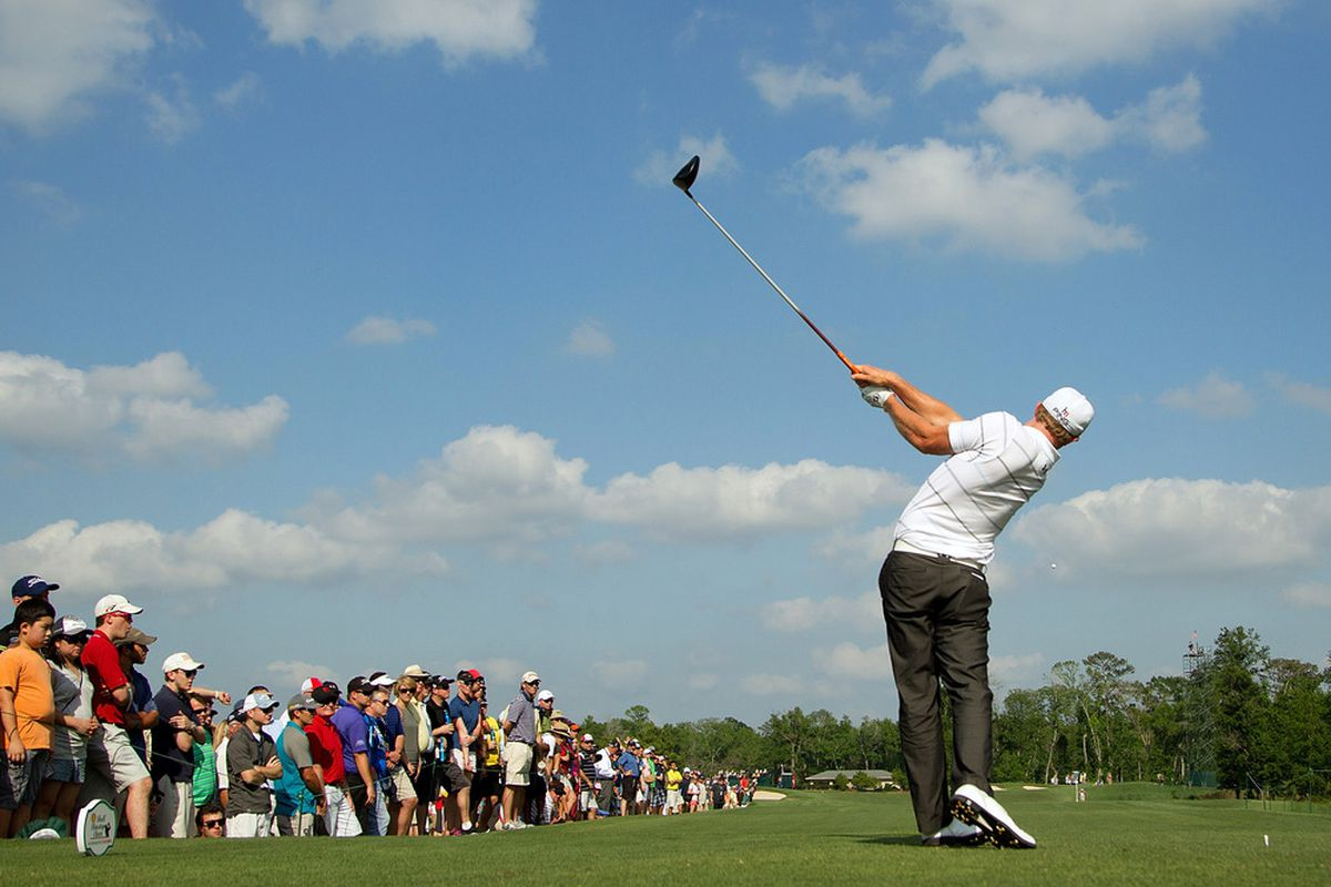 Apr 1, 2012; Humble, TX, USA; Hunter Mahan plays his tee shot on the 17th hole during the final round of the Shell Houston Open at Redstone Golf Club-The Tournament Course.  Mandatory Credit: Allan Henry-US PRESSWIRE