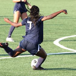 UConn's Jada Konte #7 shoots during the New Hampshire Wildcats vs the UConn Huskies exhibition women's college soccer game at Morrone Stadium at Rizza Performance Center in Storrs, CT, on Saturday August 14, 2021.
