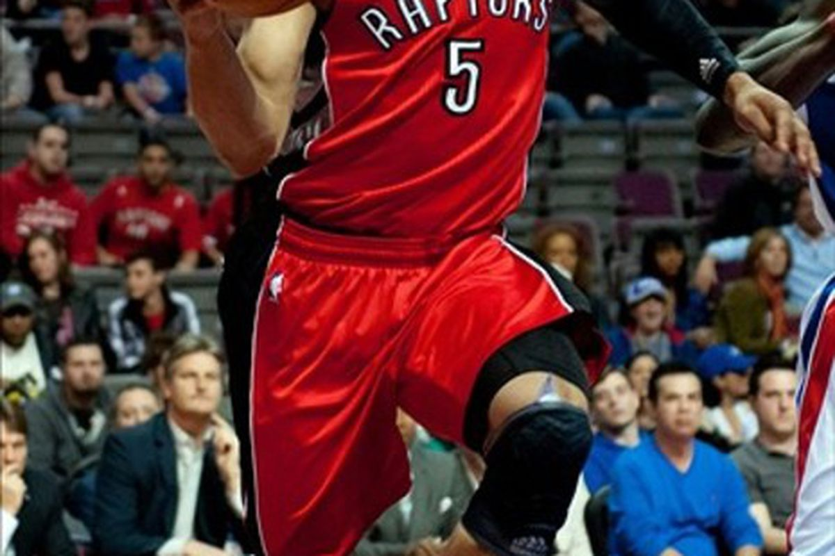 Jerryd Bayless was one of the Raptors that needed to step up in Jose Calderon's absence.  Mandatory Credit: Tim Fuller-US PRESSWIRE