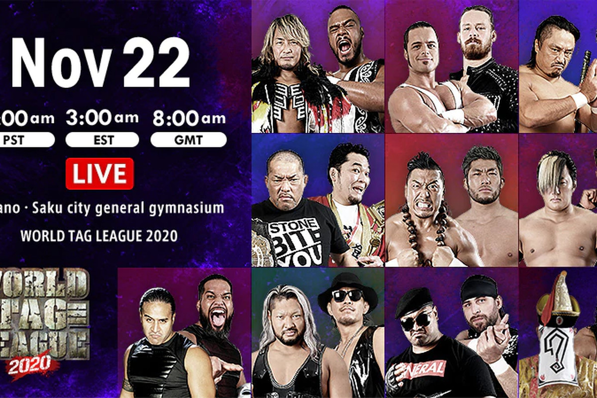 Lineup graphic for night six of NJPW World Tag League 2020