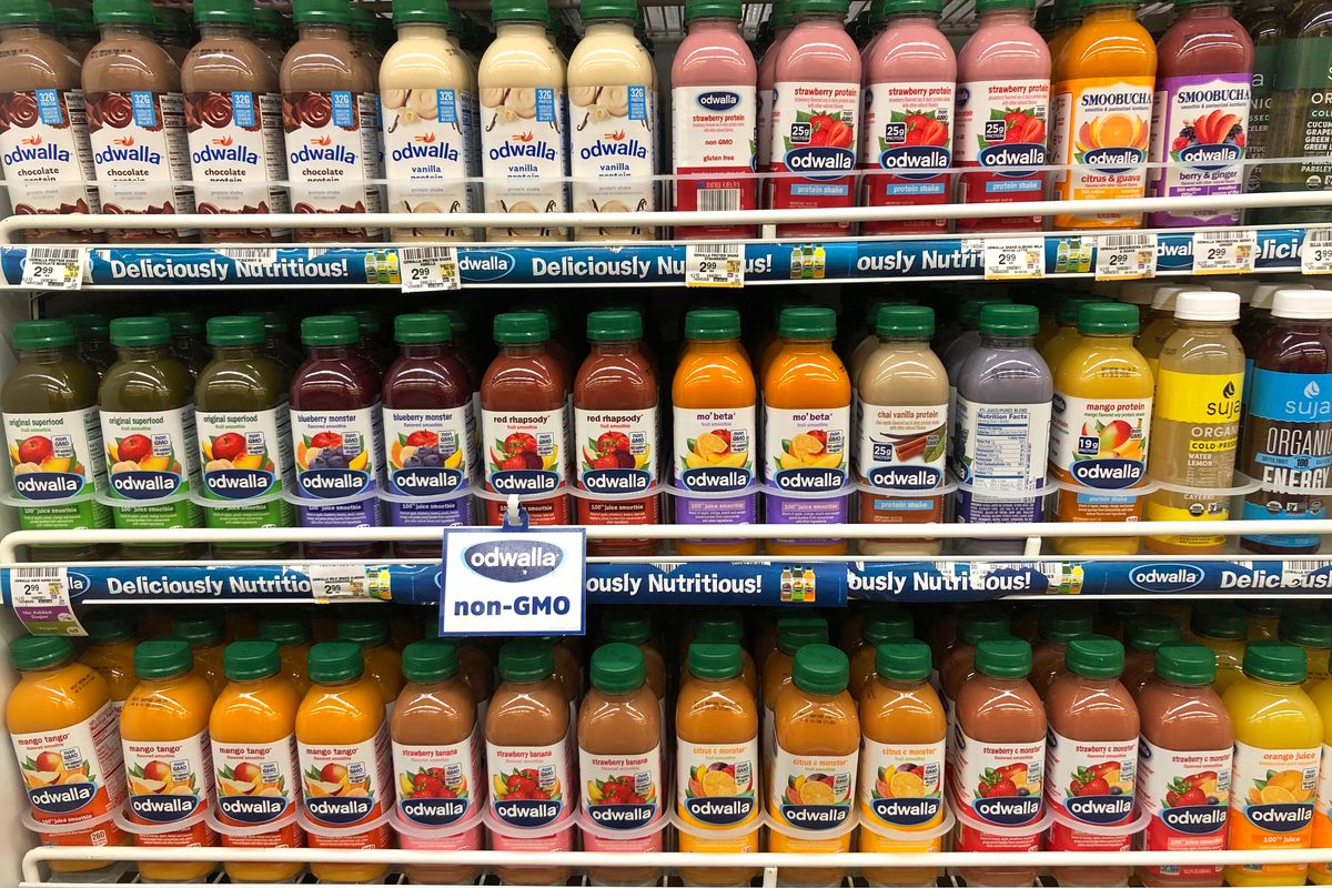 Several rows filled with Odwalla bottles of juices and smoothies.
