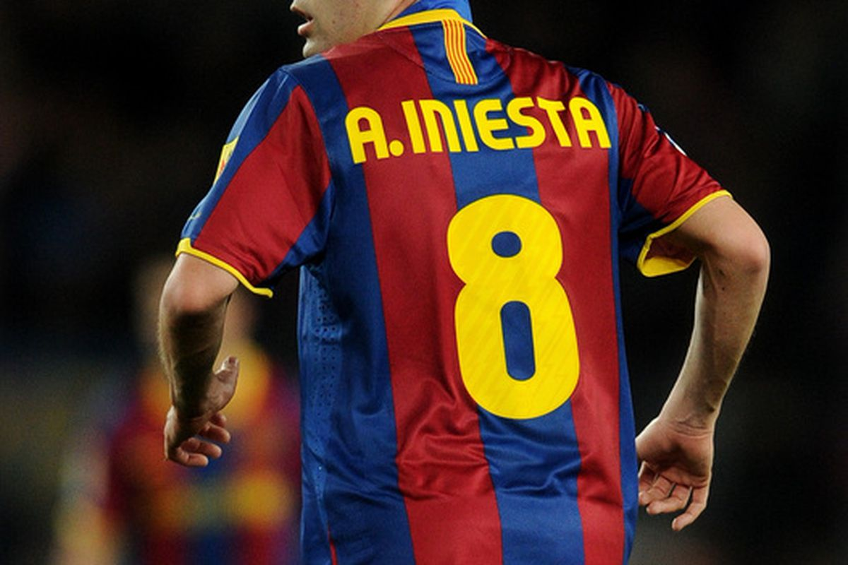 BARCELONA SPAIN - JANUARY 22:  Andres Iniesta of Barcelona in action during the la liga match between Barcelona and Racing Santander at the Camp Nou stadium on January 22 2011 in Barcelona Spain.  (Photo by Jasper Juinen/Getty Images)