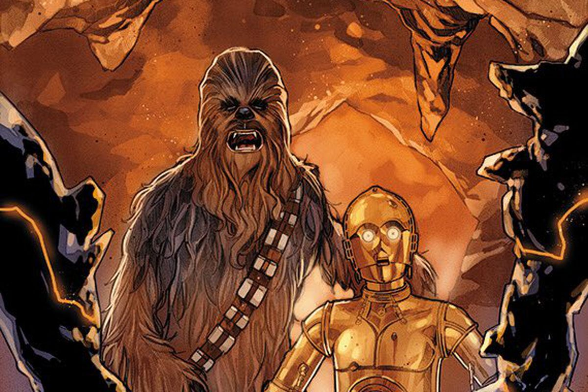 Phil Noto announces his role on interior art in Marvel's Star Wars comic line, during Star Wars Celebration. The cover to Star Wars #68, Marvel Comics (2019).
