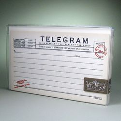 "<strong>Oblation</strong> Telegram Notecard Set, <a href=""http://cursivenewyork.com/shpro.cfm?cno=fp17"">$21 for 8 cards</a> at Cursive New York"