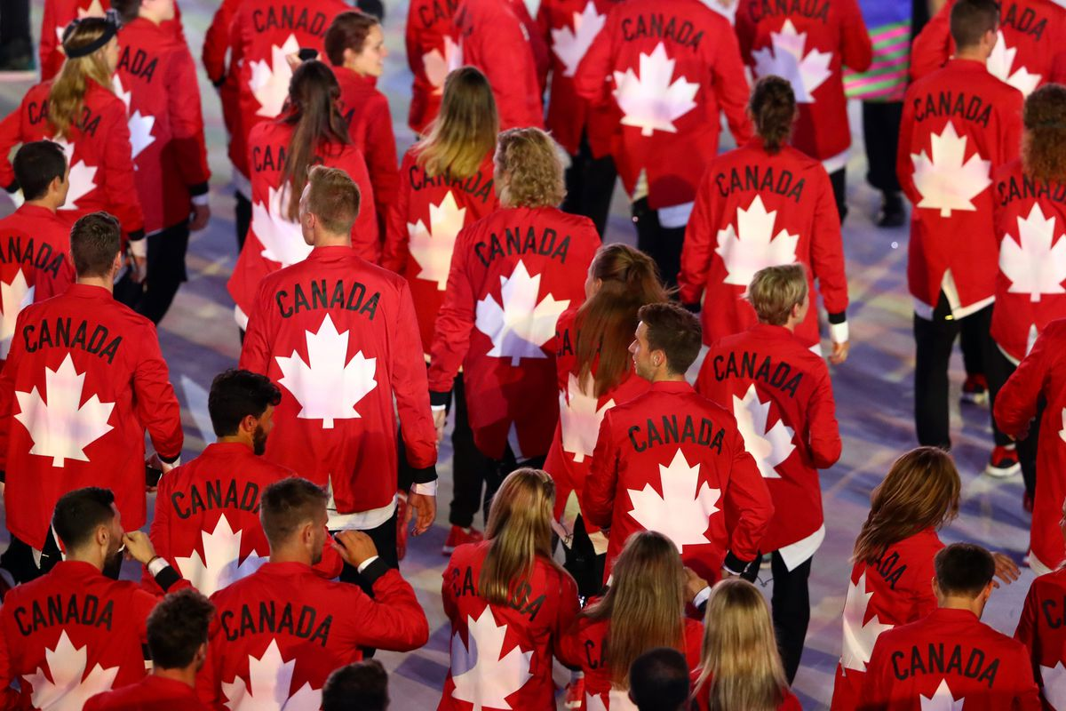 Canadian athletes marching in the Rio Opening Ceremony
