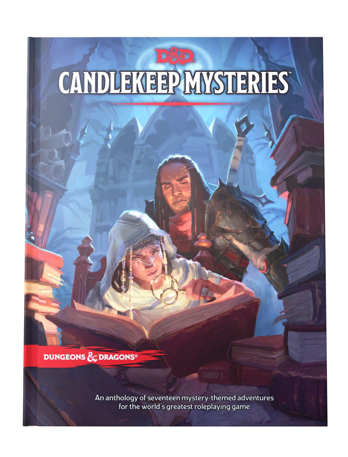 Adventurers pore over a book with a magnifying glass deep withing the dim confines of Candlekeep, in Baldur's Gate.