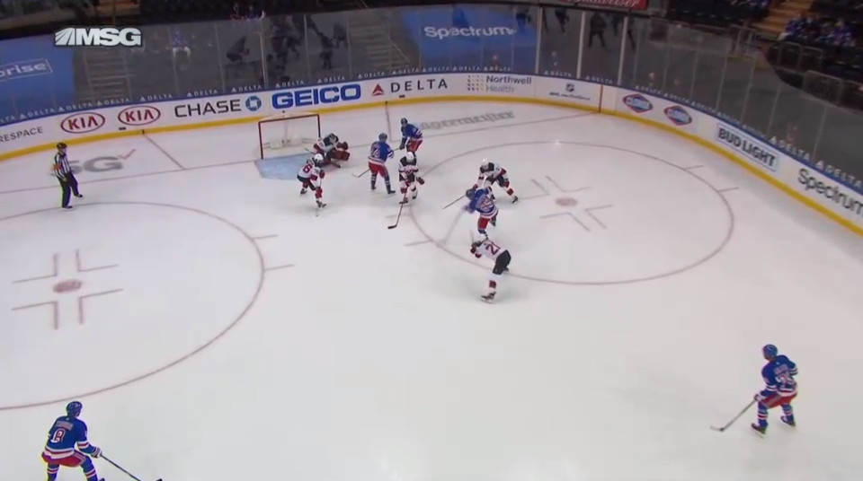 April 17: The 3-on-5 was converted and Pavel Buchnevich converted the second penalty.  Buchnevich is surrounded by McLeod (behind him) failing to get to his stick before the shot, Andreas Johnsson (right) failing to get in the way in time, and Siegenthaler (front) decided to go for a shot block instead of a challenge on the puck.  Before this, Blackwell was in the middle of the diamond and knocked the puck back to Buchnevich which led to this too-little-too-late convergence.