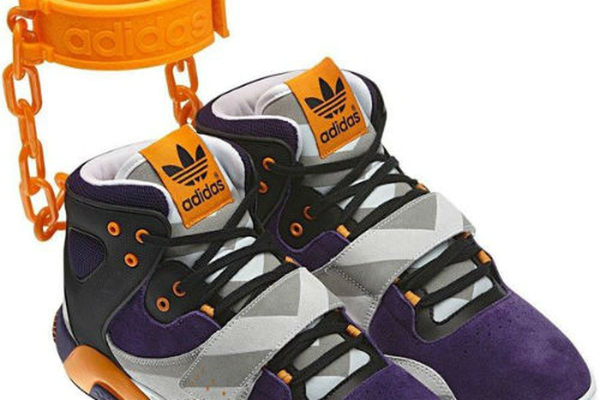 """Image courtesy of Adidas, via <a href=""""http://thelook.today.msnbc.msn.com/_news/2012/06/18/12283251-adidas-criticized-for-shackles-sneakers-denies-link-to-slavery"""">The Look</a>."""