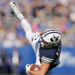 Brigham Young Cougars wide receiver Mitchell Juergens (87) catches a long pass against the Southern Utah Thunderbirds  in Provo on Saturday, Nov. 12, 2016.