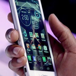 The new Droid Razr HD is reviewed during a press conference on Wednesday, Sept. 5, 2012.  It's one of three new smartphones unveiled by Motorola since it became a part of Google.