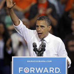President Barack Obama speaks at a campaign event at Bowling Green State University in Bowling Green, Ohio, Wednesday, Sept. 26, 2012.