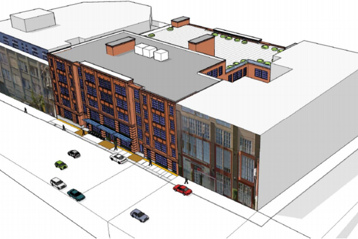 A drawing of a proposed building on Bryant Street