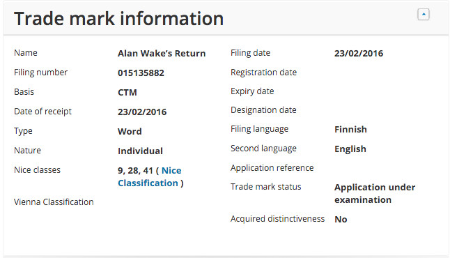 alan wake trademark