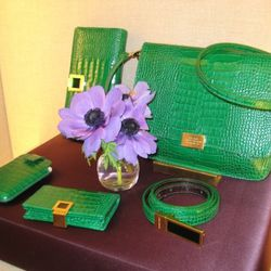 Peridot is Smythson's other fashion color for Autumn/Winter '11. Available in August.