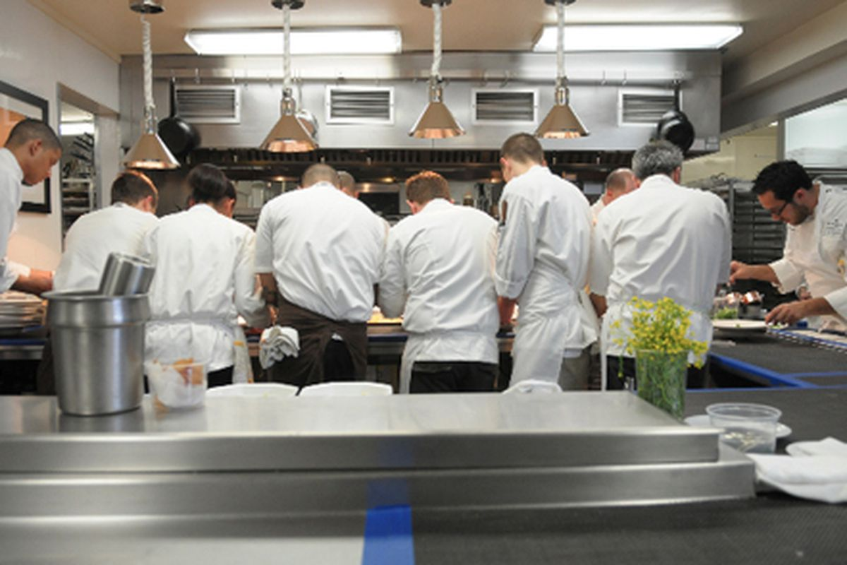 The line in Meadowood's kitchen now.