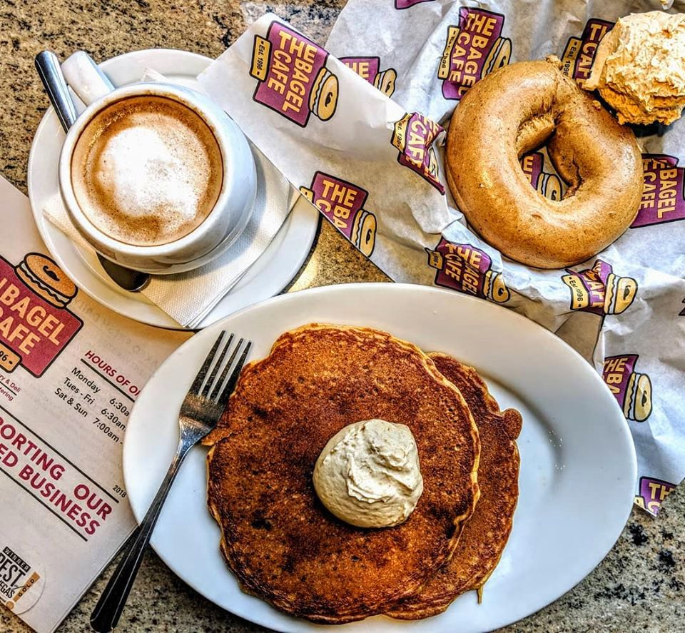 Pancakes and bagels join a roster of breakfast classics at The Bagel Cafe,