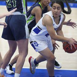 Bingham's Nane Lokutui looks to make a pass as Ridgeline's Nia Damuni guards her during a girls basketball game at Bingham High School in South Jordan on Friday, Dec. 4, 2020. Bingham won 37-32