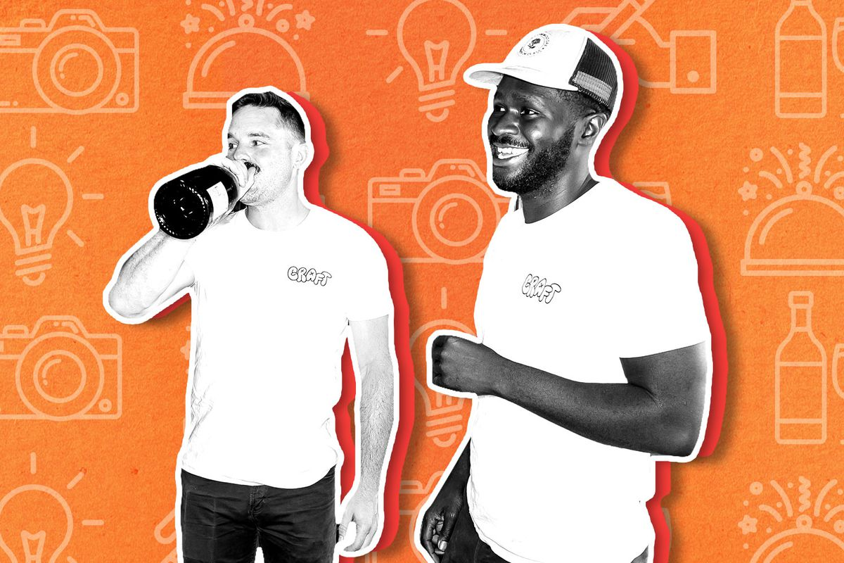 A black and white cutout of Miles White and Femi Oyediran on an orange illustrated background. Miles is sipping out of a large wine bottle and Femi is smiling with a baseball hat on.