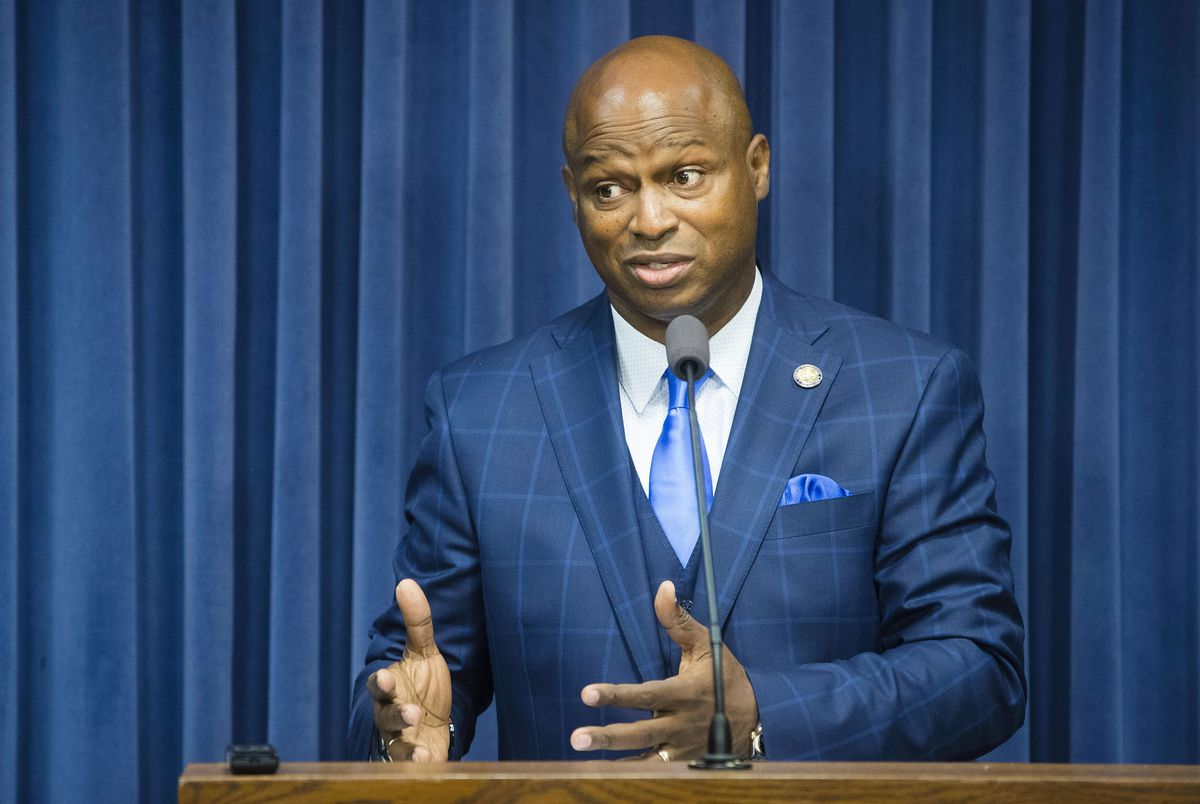 "State Rep. Emanuel ""Chris"" Welch, D-Hillside, answers questions from the media earlier this month."