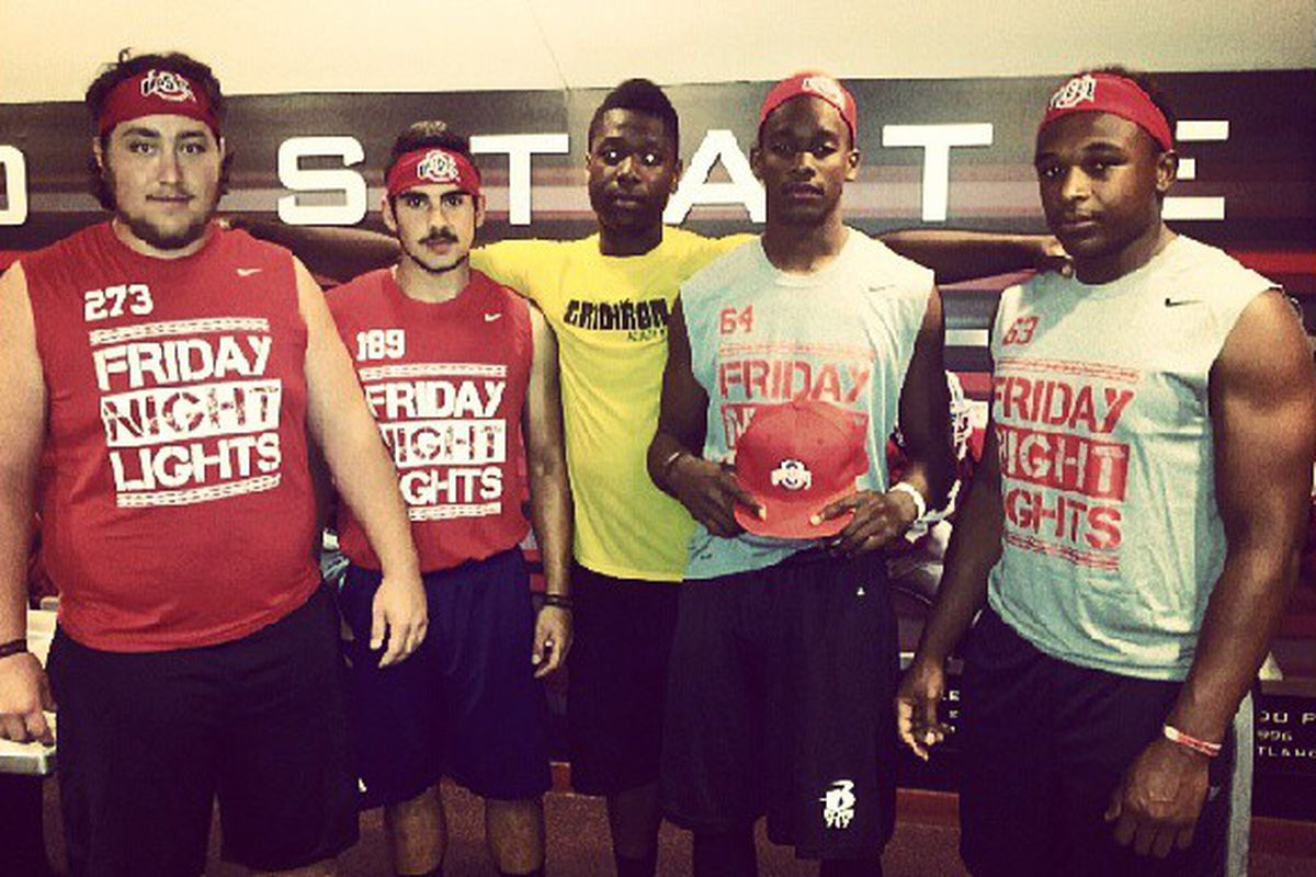 Patrice Rene (holding hat) repping the Buckeyes during his recent visit.