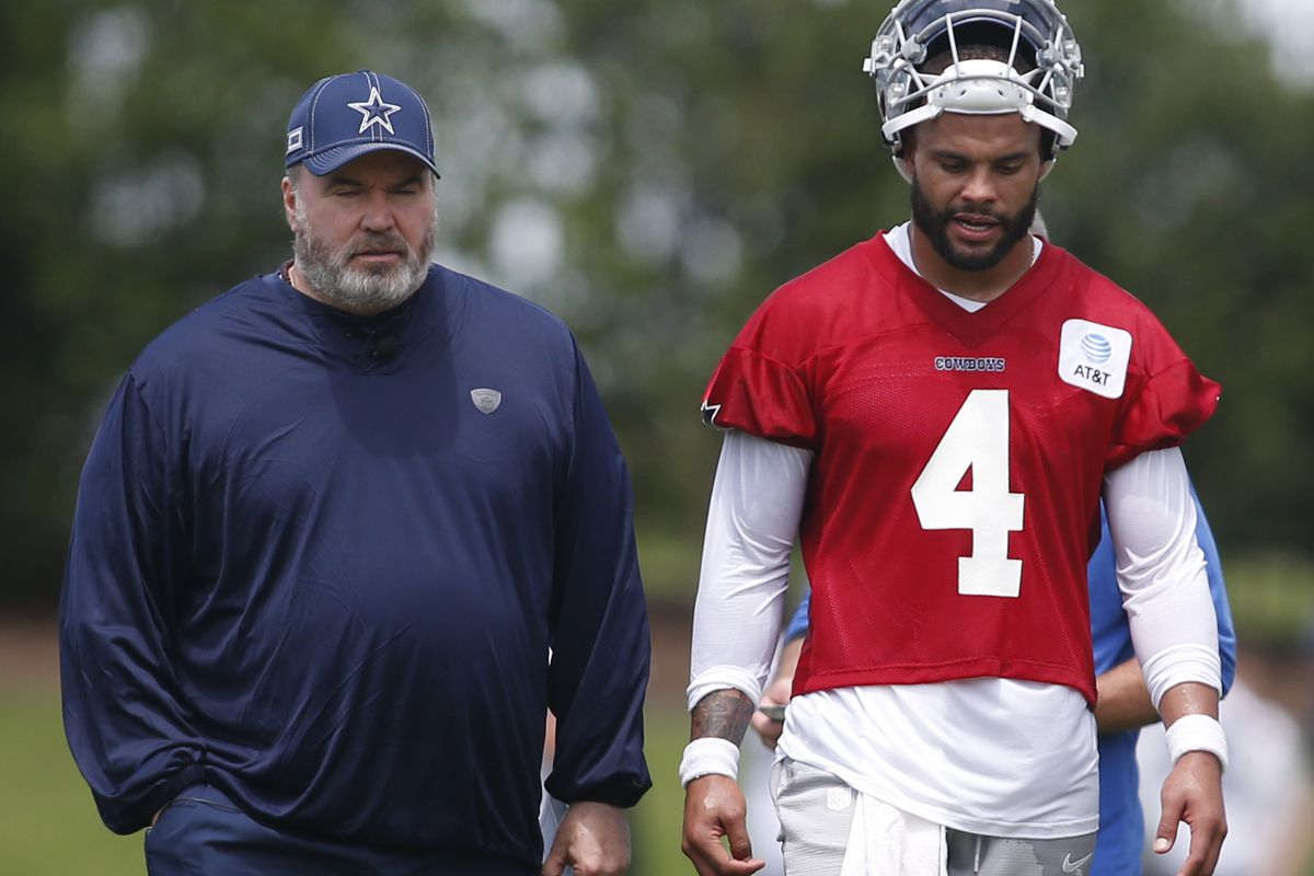 Dallas Cowboys head coach Mike McCarthy and quarterback Dak Prescott (4) talk on the field during voluntary Organized Team Activities at the Ford Center at the Star Training Facility in Frisco, Texas.