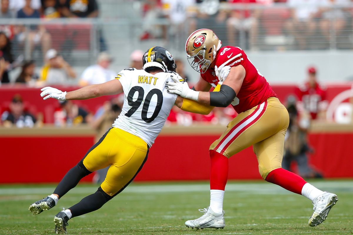 Mike McGlinchey of the San Francisco 49ers blocks T.J. Watt of the Pittsburgh Steelers during the game at Levi's Stadium on September 22, 2019 in Santa Clara, California.