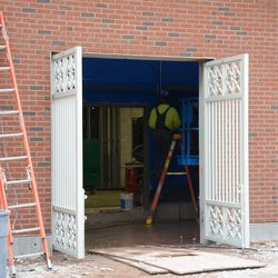 3:37 p.m. Another view of one of the side gates on Sheffield, with new gates installed -