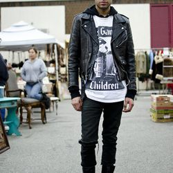 """<a href=""""http://la.racked.com/archives/2011/01/17/carlos_at_the_melrose_trading_post.php"""" rel=""""nofollow"""">Carlos</a>' jacket and tee are vintage, his jeans came from American Apparel, and his boots are Doc Martens. <br /><br />Photo by <a href=""""http://www."""