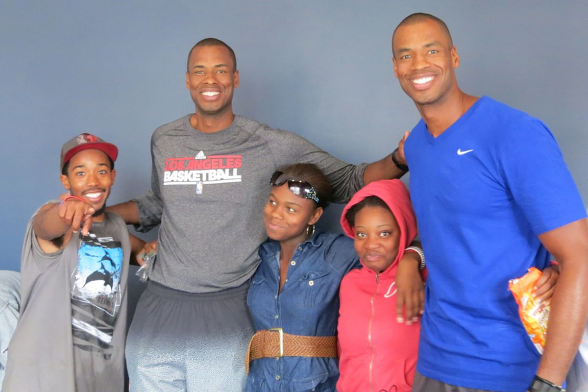 Jarron and Jason Collins with youth at the YOU Belong Sports & Leadership Camp