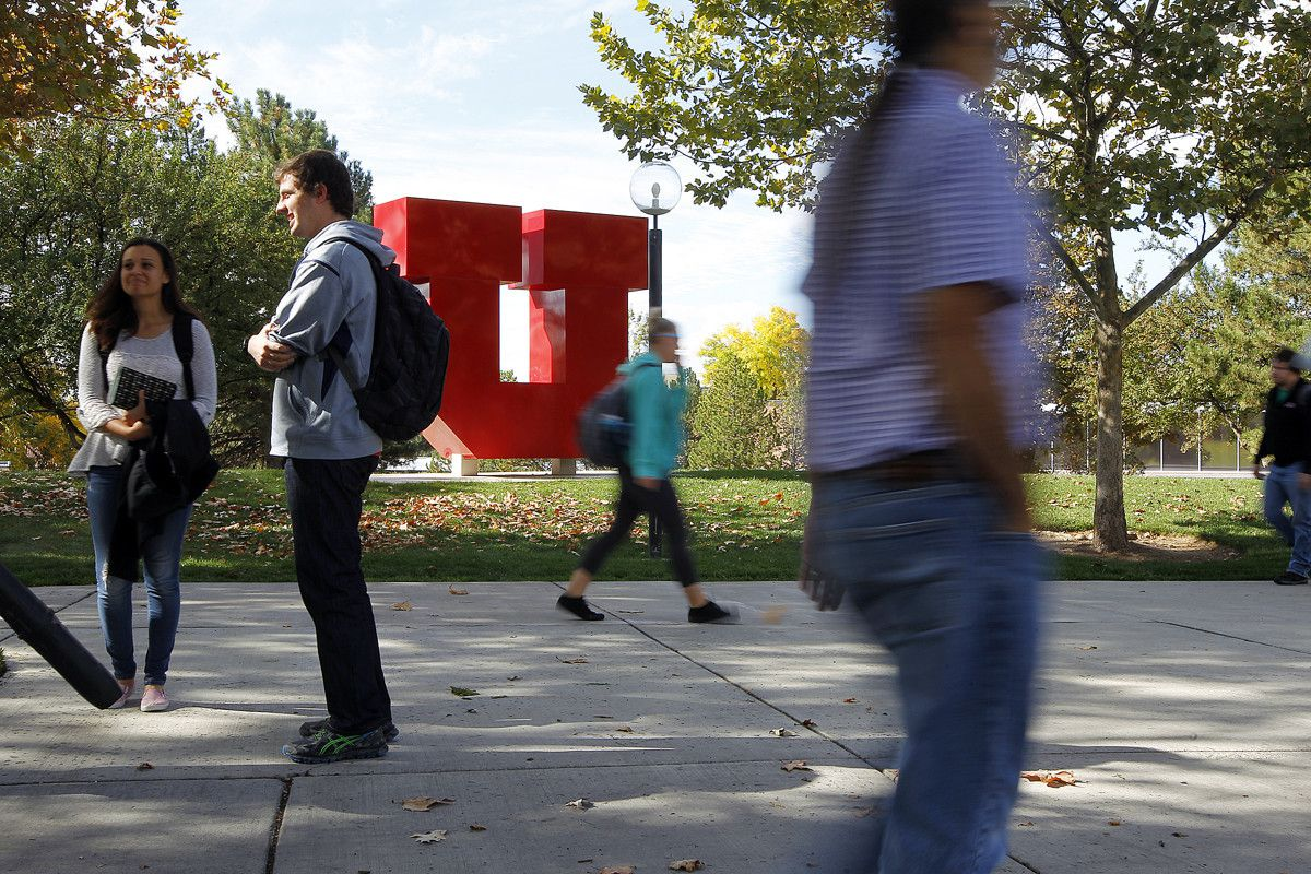 """FILE - Students walk past the """"block U"""" on the University of Utah's campus in Salt Lake City, Tuesday, Oct. 20, 2015."""