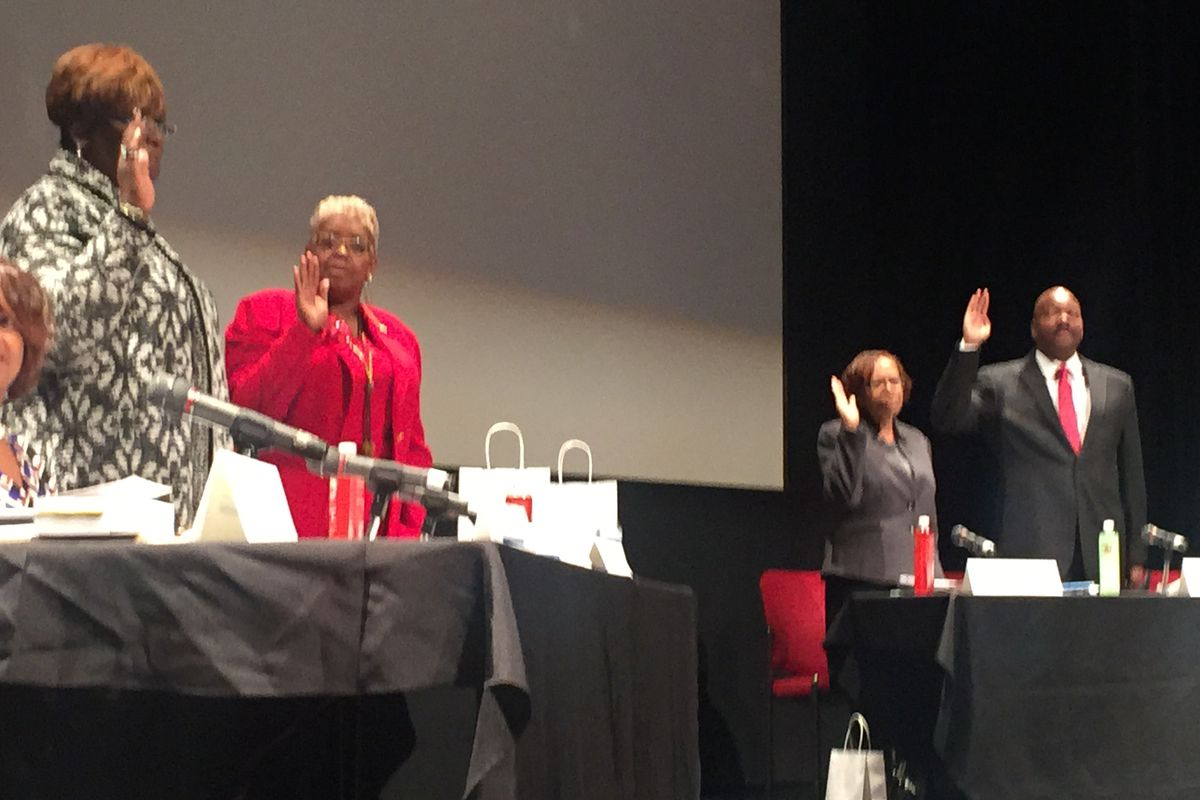 A newly elected Detroit school board took the oath and took on the 'awesome responsibility' of Detroit's children in January of 2017.